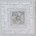 Framed Tile art, white and gray tones