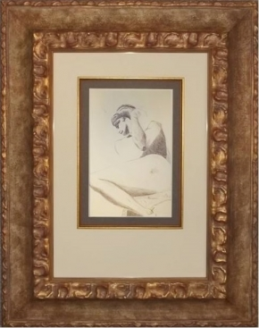 Reclining nude (untitled) by Maizelle Brown: ink drawing on paper