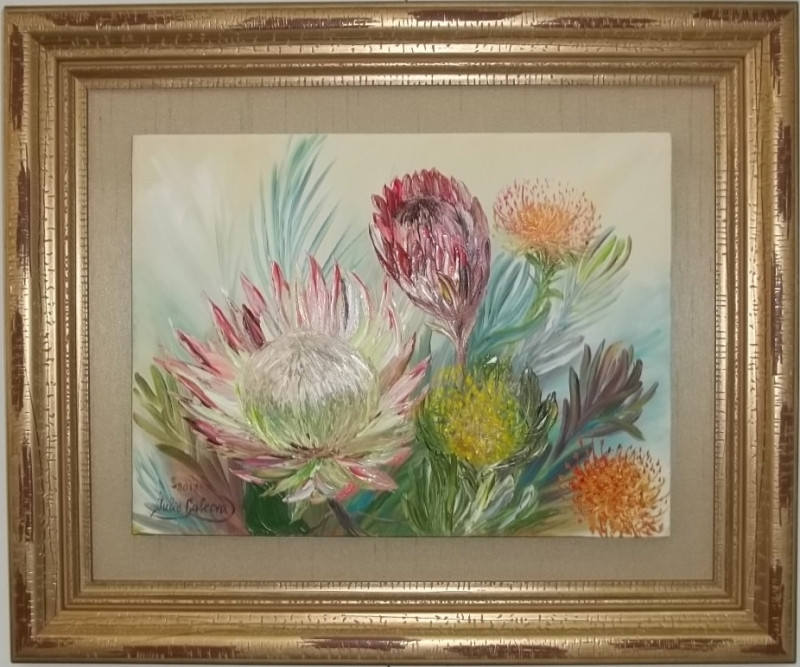 painting floated on silk-wrapped liner and framed