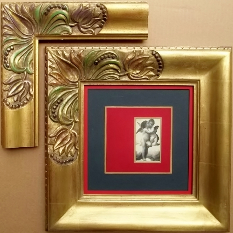 hand-carved & finished 22k gold leaf frame with red, not purple, accents as shown in corner sample