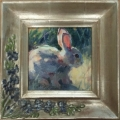 "Miniature oil painting, 12k gold (""silver"") frame"