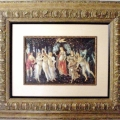 Boticelli print in cream medallion frame with silk mat