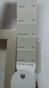 Shown; Art Frame sample with Grey (Gray) Paint color swatch by Benjamin Moore